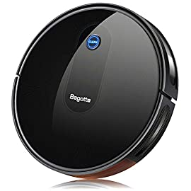 """Robot vacuum, max suction robotic vacuums cleaner, 2. 7"""" bagotte robot vacuum cleaner super thin & quiet, large dust bin, self-charging, ideal for pet hair, carpet, hardwood floors 1 strong cleaning→large dust bin: bagotte 1500 pa robot vacuum cleaner can easily pick up pet hair, large particles on the floor and can even drag trapped dirt from deep inside low-pile carpets. At the same time, the large-capacity dustbox (0. 6l) can hold a lot of garbage, reducing the number of cleanings. High capacity battery→self-charging: equipped with 2600mah li-ion batteries, the robotic vacuums will continuous to clean your house after being fully charged. Especially, when the robot vacuums are at low power, they will automatically return to the charging station for charging. 4 cleaning modes→more choices: 4 different cleaning modes including auto / scheduling / spot / edge, single room & max cleaning. Bagotte robotic vacuums has a unique schedule cleaning mode. You can set any time you want to clean, it will be your excellent helper."""