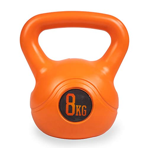Phoenix Fitness Unisex RY932 Vinyl Kettlebell - Heavy Weight Kettle Bell for Strength and Cardio Training, Orange, 8KG