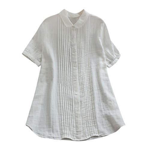 Vrouwen T-shirt met korte mouwen - Peter Pan kraag Zomer Losse Effen kleur omlaag Casual Tops Blouse