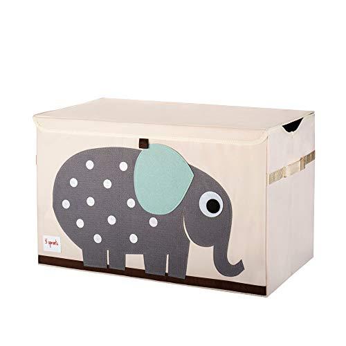 3 Sprouts - Caja de juguetes para niños - Caja de almacenaje para el dormitorio de los niños y niñas, Elefante