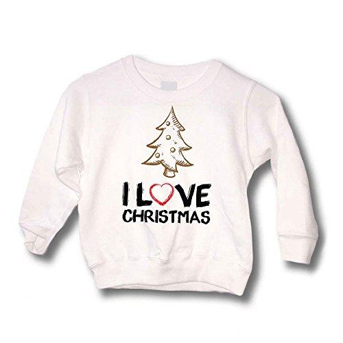 Felpa Bimbo Bianca Maglione Natalizio Personalizzato Bambino Albero I Love Christmas - Tg: 12-14 Anni