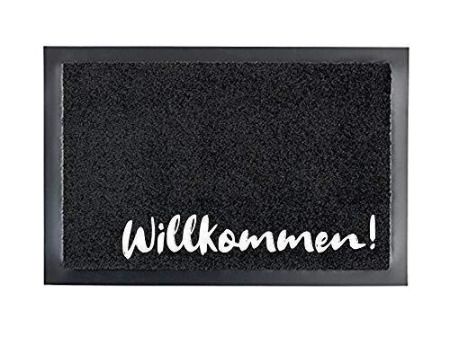 WILLKOMMEN! Fußmatte Türmatte Schmutzfangmatte 40 x 60 cm Türvorleger INNEN & AUSSEN rutschfest WASCHBAR Geschenk Weihnachten Geburtstag Einzug Umzug Hochzeit