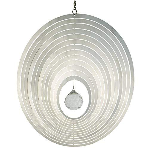 CIM Edelstahl Deko Windspiel - Mirror Crystal Oval - Abmessung: 20 x 20cm - mit Kristallglaskugel, Kugellagerwirbel und Haken - Winter