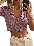 Cardigan da donna lavorato a maglia con scollo a V a maniche corte con bottoni Y2k maglione E-Girl Streetwear Viola M