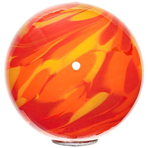 Cristalica Gartenkugel Kugel klein Rosenkugel Glas Mundgeblasen Rot Orange 15 cm mit Stab