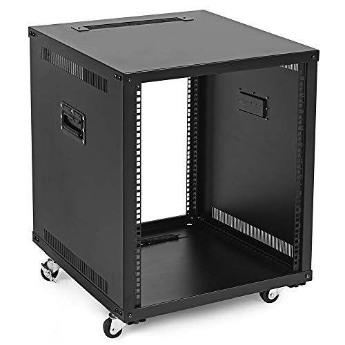 NavePoint 12U Portable Rolling Network Rack, Adjustable Depth 2.5 to 22.6 Inches, Top and Bottom Cable Management, Built-in Handles, Locking Swivel Caster Wheels, Audio Video, Telecom, Equipment Rack