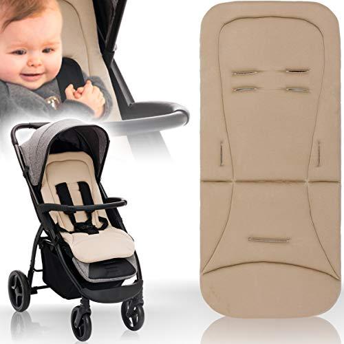 Baby/Kind Wende - Sitzauflage für Buggy und Kinderwagen/Einlage mir extra weichen Memoryschaum und Bezug aus 100{3daa9153f47108ba5107db8231f4f5ecc52259326529d7c853a34a465a03d9a5} Baumwolle (Taupe)