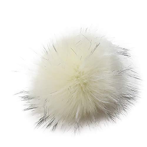 Y56 13cm DIY Pompon Kunstfell Faux Kunstpelz Pom Pom Ball Kunstfellbommel für Stricken Hüte Zubehör Bommelmütze Schlüsselanhänger Bommel mit Anstecknadel Pelzbommel Fellbommel Pompon (I)