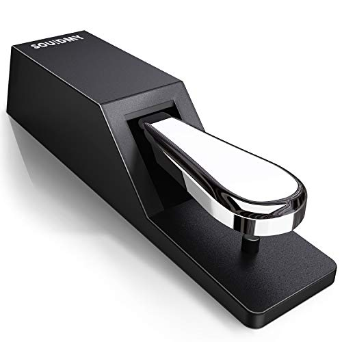 Souidmy Universal Sustain Pedal, Metal bottom Heavy Non-Slip Pedal with Polarity Switch, Premium Internal Structure, Piano Style Action and High Responsive, For MIDI Keyboards, Digital Pianos & More