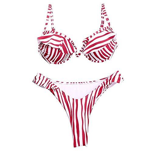 SWNN Conjunto de traje de baño de mujer sexy de leopardo, traje de baño de dos piezas, correa de hombro ajustable, bikini de corte bajo, cintura baja con volantes (talla L: L)