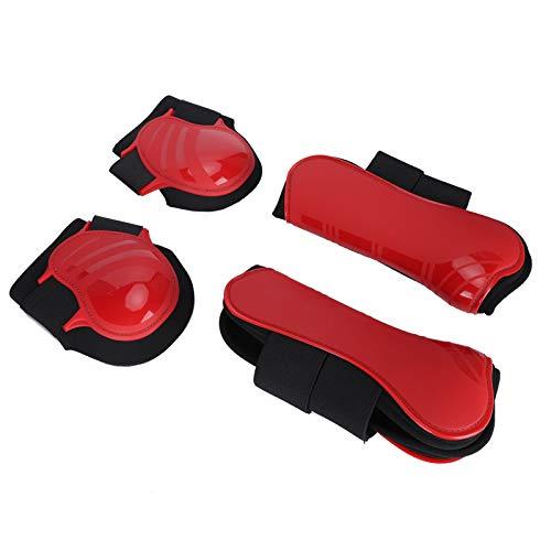 SALUTUYA Stützstiefel für Pferde rutschfest Langlebig Bequem für Kissen Pferdebeine Rot(red, Set of Large)