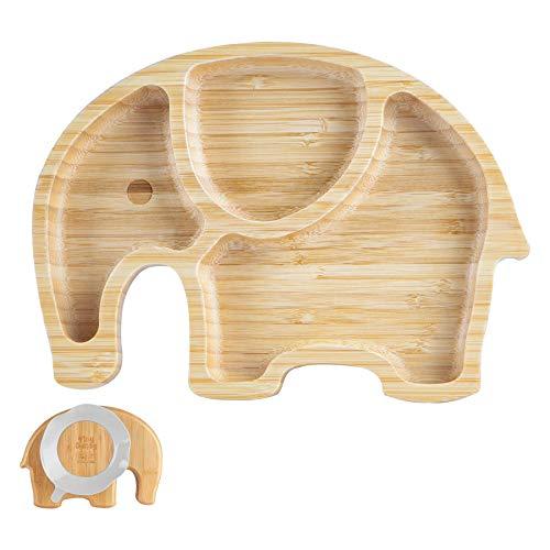 Tiny Dining infantil de bambú succión elefante Plate - segmentado de diseño, respetuoso del medio ambiente - Gris