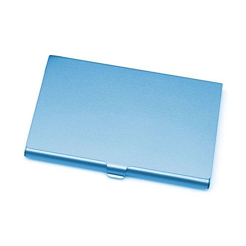 Tarjetero de aluminio de acero inoxidable para tarjetas de visita, caja de metal, tarjetero, tarjeta de visita (azul)