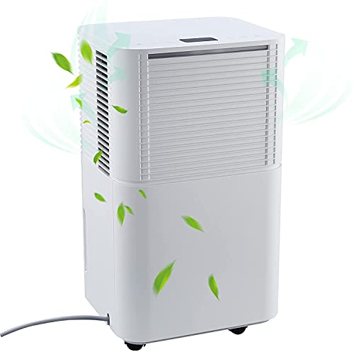CO-Z 200W Dehumidifier for 12L/Day Drying Power, Automatic Room Dehumidifier for Home Damp Bathrooms Basements Garages Bedrooms More, Large Electric Dehumidifier with Drainage and Timer