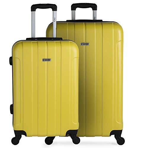 ITACA - Set di 2 valigie rigide da viaggio 4 ruote trolley 64/73 cm ABS, resistenti e leggere, maniglie per lucchetto, medie e grandi dimensioni 771116, Giallo, L,