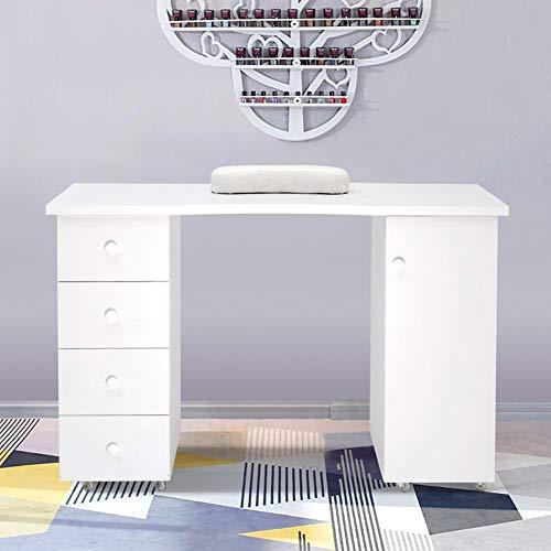 Lifelook Manikürtisch Studiotisch Beauty Schublade Lagerung Nageltisch Weiß Kosmetiktisch mit 4 Schubladen