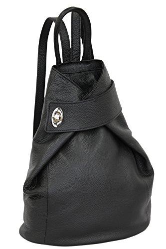 AMBRA Moda echt Leder Damenrucksack CityRucksack Daypack GL014 (Schwarz)