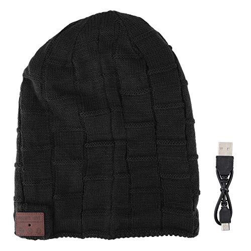 DAUERHAFT Headset Musical Knit Hat, Full-Duplex HD Stereo Bluetooth Gorro cálido de celosía Grande, para Dispositivos Bluetooth de Gama Alta y Baja(Negro)