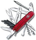 Victorinox Cyber Tool M Swiss Army Pocket Knife, Medium, Multi Tool, 32 Functions, Blade, Bits, Red Transparent