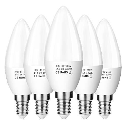 ZIKEY E14 LED 6W Kerze Glühbirne, 600 lm, 6000K Kaltweiß, Ersetzt 50W Lampe, C37 LED Leuchtmittel, Kleine Edison Schraube | Nicht dimmbar, 5er Pack