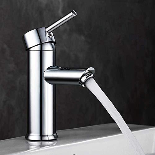 GAVAER Wasserhahn Bad, Waschtischarmatur Moderner Stil Wunderschöne Design,Kaltes und Heißes Wasser Vorhanden, Keramikventil, Messing Verchromt.