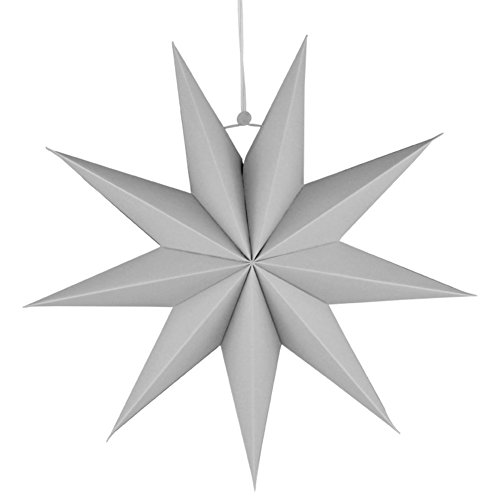 San wood Nine-pointed Star Paper Hanging Decoration for Kids Room Party Classroom 30cm (Grey)