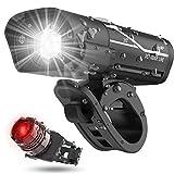 Luz Bicicleta Recargable USB, Luz Bicicleta Potente Delantera y Trasera LED Set, Impermeable Luces Bicicleta con Asiento de Fijación, 4 Modos, Luz de Advertencia de Seguridad para Carretera y Montaña