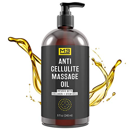 M3 Naturals Anti Cellulite Massage Oil Infused with Collagen and Stem Cell - Natural Lotion - Help Firm, Tighten Skin Tone - Treat Unwanted Fat Tissue, Stretch Marks - Cellulite Removal Cream