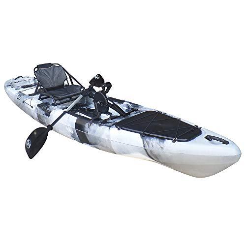 BKC PK13 13' Pedal Drive Fishing Kayak W/Rudder System and Instant Reverse, Paddle, Upright Back Support Aluminum Frame Seat, 1 Person Foot Operated Kayak (Grey Camo)