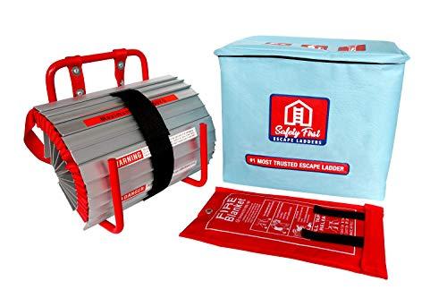 2 Story Fire Escape Ladder (13ft) by Safety First | Emergency Ladder Comes w/Fiberglass Fire Blanket | All New Anti-Slip Step, Easy to Deploy & Easy to Store