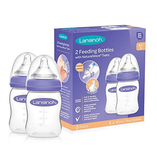 Lansinoh Momma Stillflaschenset mit NaturalWave Sauger für langsames Trinken, 2 x 160 ml