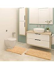 HOUSE DAY Badrumsmattor Chenille 2-delad badmatta set, inkluderar U-formad kontur toalettmatta och badmatta, maskintvättbar (beige)