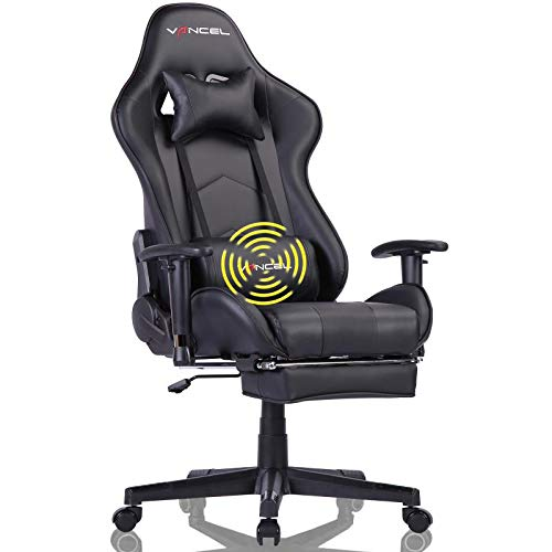 Gaming Chair Computer Chair Office Chair Ergonomic High Back Racing Video Chair with Headrest,Massager Lumbar Support & Retractable Footrest (Black)