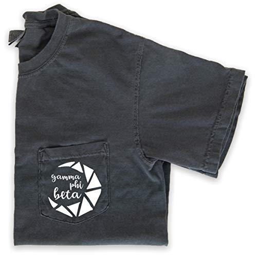 Gamma Phi Beta Crescent Moon Pocket T-Shirt (Medium) Grey