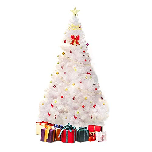 PLKO Premium 10FT Artificial Spruce Hinged Christmas Tree,Xmas Tree with 2150 Branches Tips and Foldable Stand for Holiday Decor, White