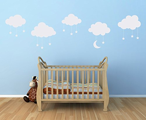 Cloud Wall Decal Set - Clouds with Dangle Stars & Moon Decals - Set of FIVE Clouds - Nursery Wall Decal