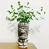 Resin Easter Island Statue Vase - Urn for Plants - Durable Polyresin Sculpture, Head Planter Garden Art Statue, Easter Island Tiki Urn, Antique Green Finish, Home Garden Balcony Decor (A)