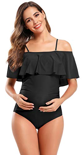 SHEKINI Maillot de Bain Femme Maternité Une Pièce Élégant À Volants et épaules dénudées Bikinis Grossesse Enceintes Réglable et Amovible Sangle d'épaule Bikini de Plage (L, Noir)