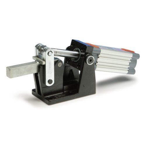 JW Winco Series GN 861 Steel Heavy-Duty Pneumatic Toggle Clamp with Horizontal Mounting Base, Metric Size, Clamp Size 1000, 10000 Newton Holding Capacity