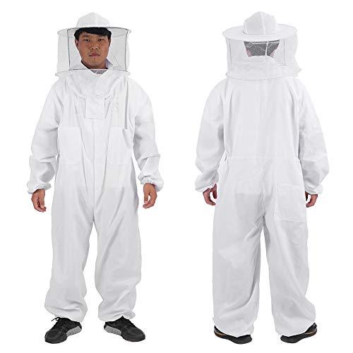 Imker Anzug - Delaman Professioneller Ganzkörper Imkeranzug mit rundem Schleierhut, Weiß, Imkerbedarf (Size : XXL)