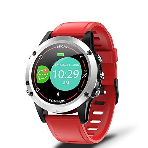 Reloj inteligente, de 1 pulgada de círculo completo, semitransparente, Trans-reflectante, detección de salud, recordatorio inteligente, selfie, compatible con Android y iOS (color: rojo)