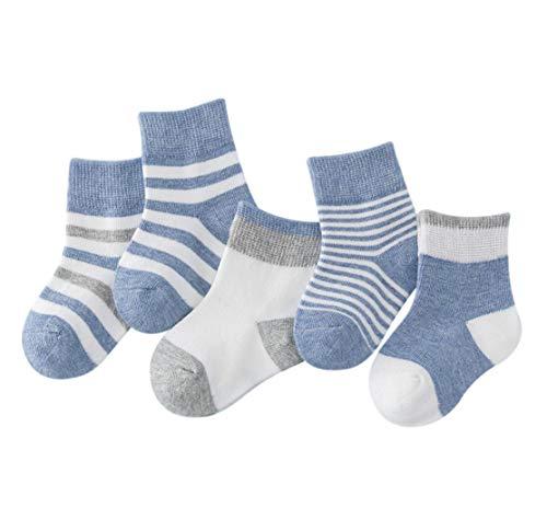 DEBAIJIA Niños Niñas Calcetines de Algodón Cómodo Deportivo Jogging Suave Elasticity Absorber el Sudor primavera verano otoño Color Azul 1-3 años (Pack de 5 Pares)
