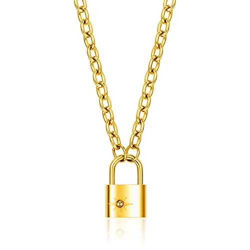 Lock Pendant Necklace Punk Style Padlock Necklaces for Women Mens Silver Rose Gold Plated (Gold)