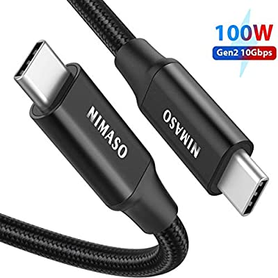 USB C to USB C 3.1 Gen2 Cable (3.3ft/1m), NIMASO PD 100W USB Type C to Type C Fast Charge Data Cable 4K Video Output for Macbook Pro, iPad Pro 2020/2018, HUAWEI MateBook, Galaxy Note 10/10+