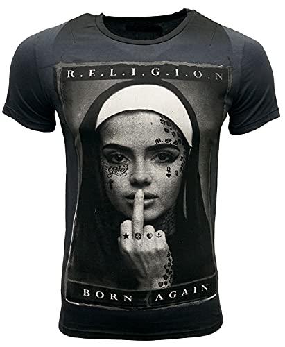 Religion Camiseta para hombre Born Again, Negro , M