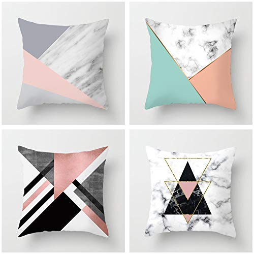 HOUZII Zippered Cushion Cover, 4 Pack Splicing Square Throw Pillow Case, 45x45 cm (17x17 Inch),