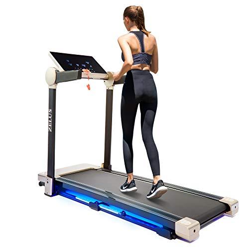 Z ZELUS Tapis Roulant Pieghevole Elettrico Treadmill Professionale velocità Regolabile 12KM/H Fitness per Casa Altoparlante Bluetooth USB App Assorbimento degli Urti Magnetici (Deluxe; 12 km/h)