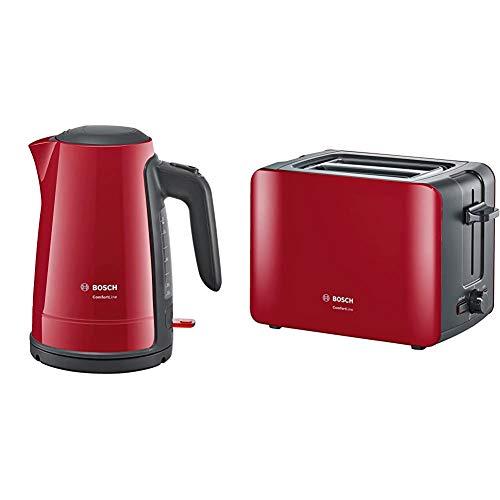 Bosch TWK6A014 Wasserkocher ComfortLine, 1-Tassen-Funktion, Dampfstopp-Automatik, entnehmen Kalkfilter, 2400 W, rot/anthrazit & TAT6A114 Kompakt-Toaster ComfortLine, automatische Brotzentrierung