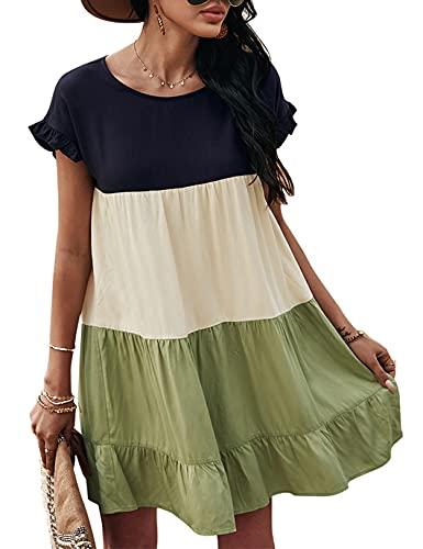 Vestido de Verano con Columpio para Mujer Color Block Ruffle A-Line Babydoll Mini Vestidos Verde M