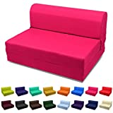 Magshion Futon Furniture Sleeper Chair Folding Foam Bed Choose Color & Sized Single,Twin or Full (Single (5x23x70), Hot Pink)